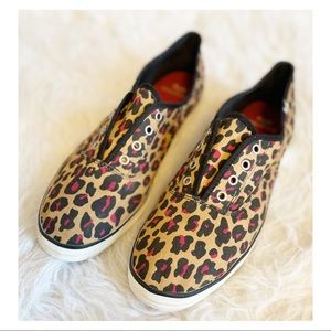Keds - Red Leopard Canvas Slip Ons sz.11